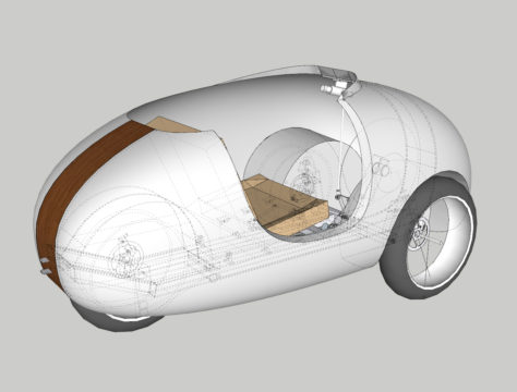 Velopetta design from rear showing hidden lines
